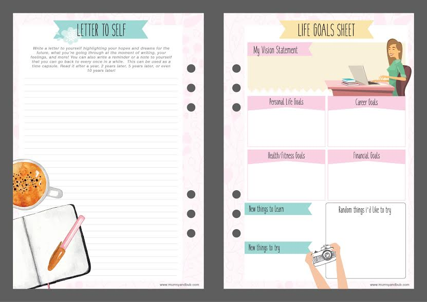 mum planner - princess - life goals sheet