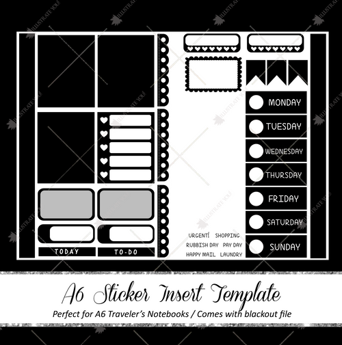 A6 Travelers Notebook Insert - Sticker Template