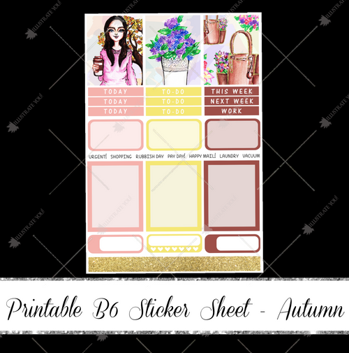 PRINTABLE B6 Sticker Sheet - Autumn