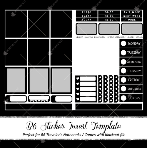 B6 Travelers Notebook Insert - Sticker Template