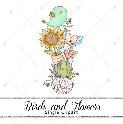Single Clipart - Birds & Flowers
