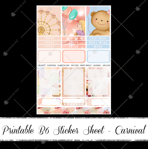 PRINTABLE B6 Sticker Sheet - Carnival