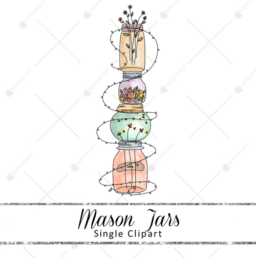 Single Clipart - Mason Jars