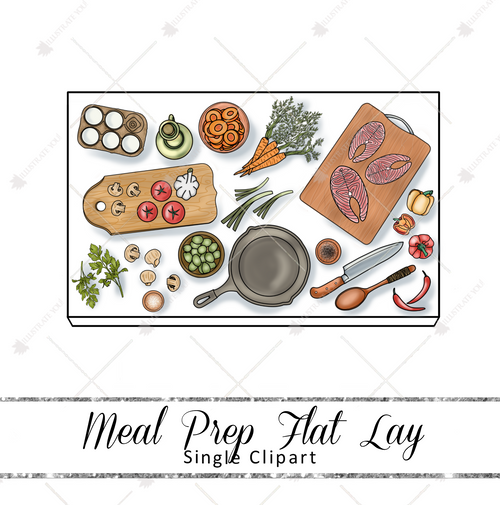Single Clipart - Meal Prep Flat Lay