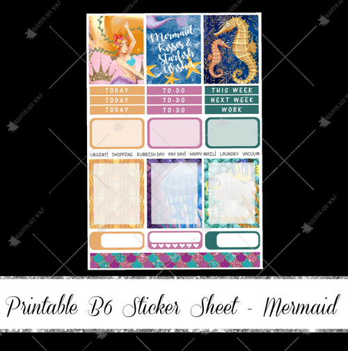 PRINTABLE B6 Sticker Sheet - Mermaid