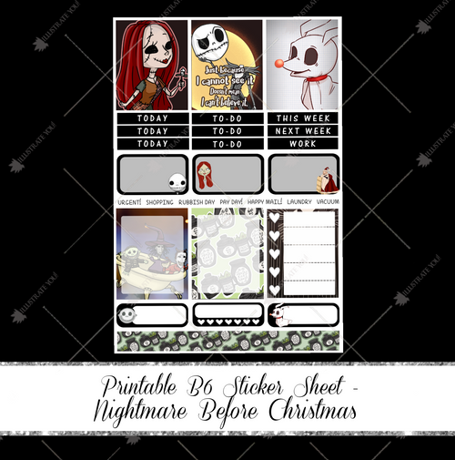 PRINTABLE B6 Sticker Sheet - Nightmare Before Christmas