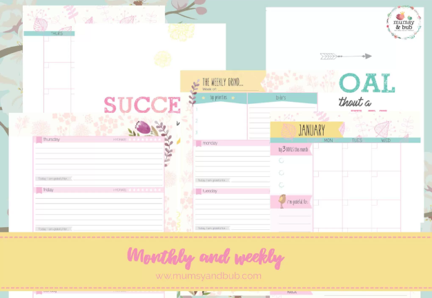mum planner inserts - monthly and weekly