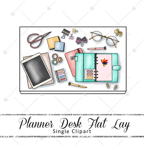 Single Clipart - Planner Desk Flat Lay