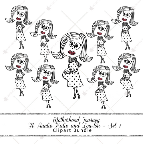Clipart Bundle - Motherhood Journey Ft. Auntie Katie and Lou-lou