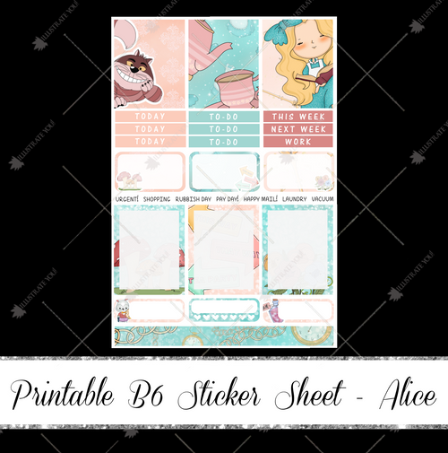 PRINTABLE B6 Sticker Sheet - Alice