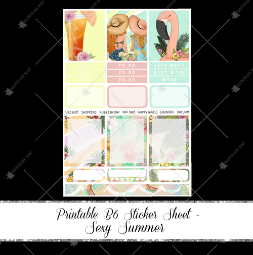 PRINTABLE B6 Sticker Sheet - Sexy Summer