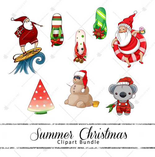 Clipart Bundle - Summer Christmas