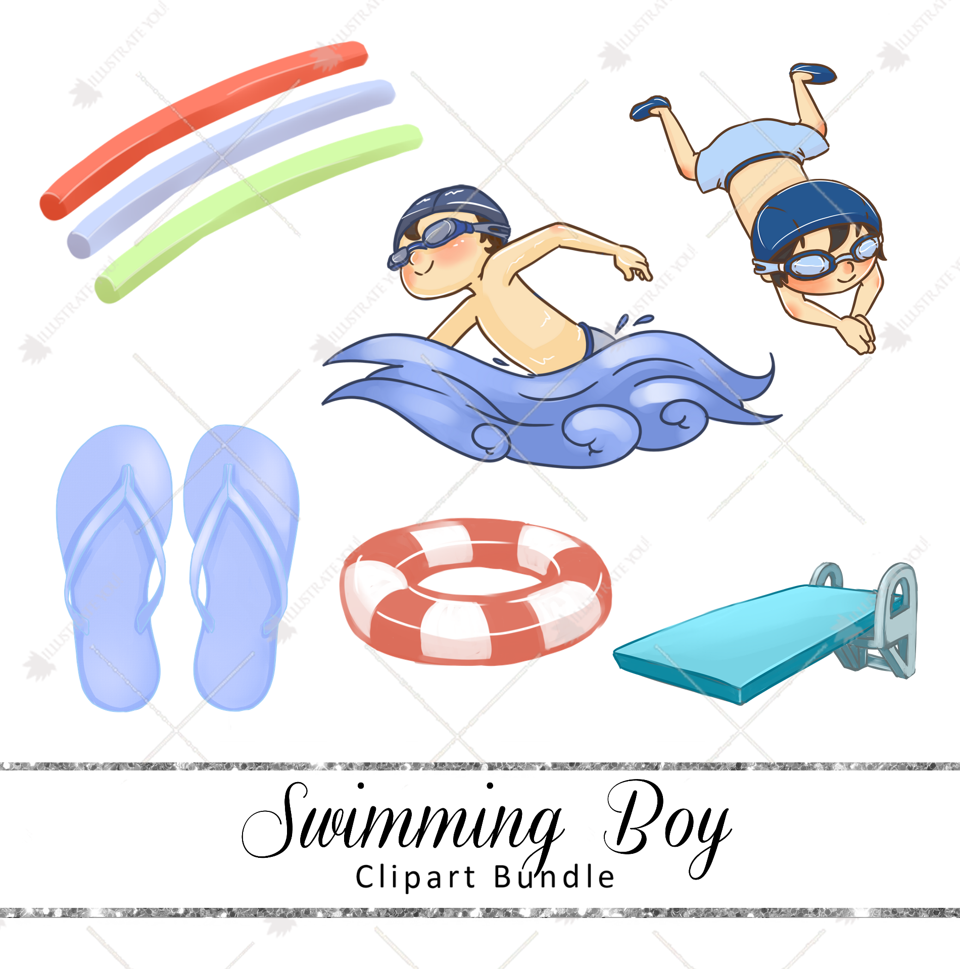 Clipart Bundle - Swimming (Boy)