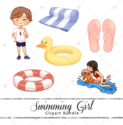 Clipart Bundle - Swimming (Girl)