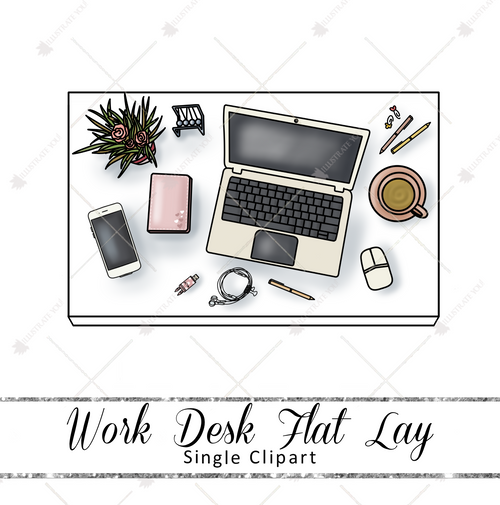 Single Clipart - Work Desk Flat Lay