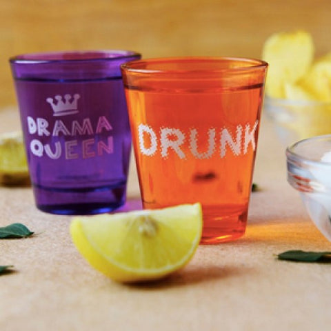 shot glasses, quirky, gifting, gifts for her, navvi, drama queen, drunk