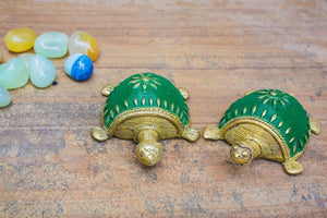 Dhokra Tortoise Table Top Set- Green - Navvi Lifestyle