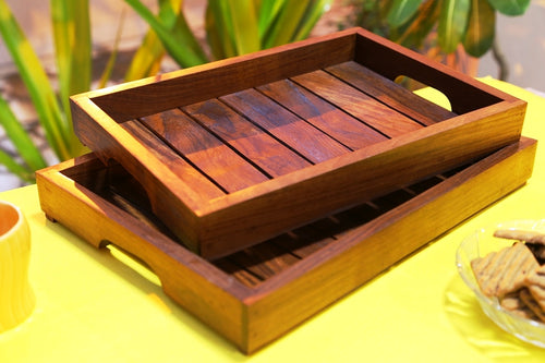 Elegant Brown Wooden Serving Tray Set Of 2 In Sheesham Wood - Navvi Lifestyle
