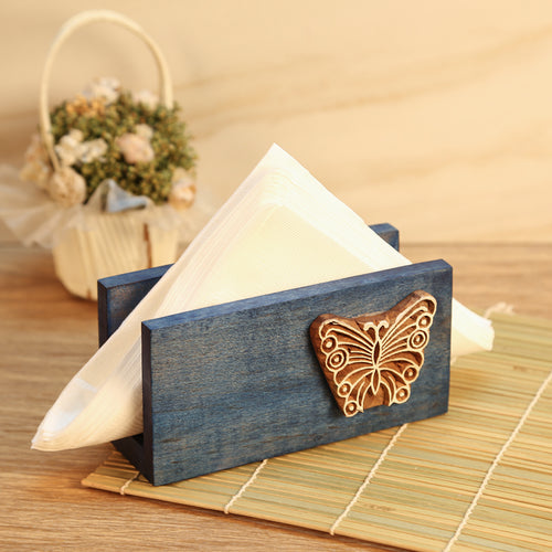 Butterfly Engraved Wooden Napkin Holder (Blue) - Navvi Lifestyle