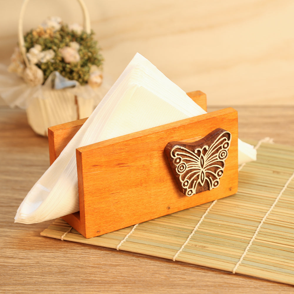 Butterfly Engraved Wooden Napkin Holder (Orange) - Navvi Lifestyle