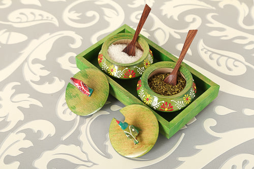 Wooden Green Tray Jar Set With Two Handi And Cute Parrots - Navvi Lifestyle