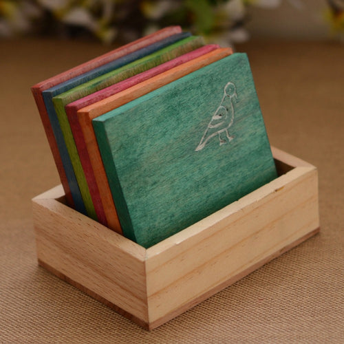 Multicolured Parrot Carving Wooden Tea Coasters Set - Navvi Lifestyle