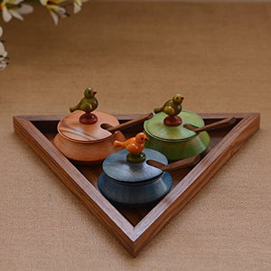 Multicoloured Triangular Wooden Parrot Jar Set With Tray & Spoon