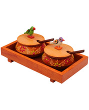 Wooden Orange Tray Jar Set With Two Handi And Cute Parrots