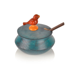 Wooden Parrot Jar Set With Tray & Spoon In Blue