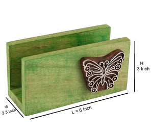 Wooden Napkin Holder Cum Tissue Paper Holder In Green With Butterfly Engraved Block