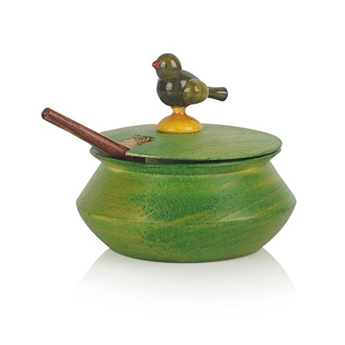 Multicoloured Wooden Parrot Jar Set With Tray & Spoon - Navvi.in