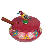 Parrot Jar Set With Tray And Spoon In Wood With Emboss Hand Painted Red