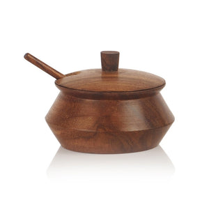 Wooden Jar Set With Tray & Spoon In Sheesham Wood Brown