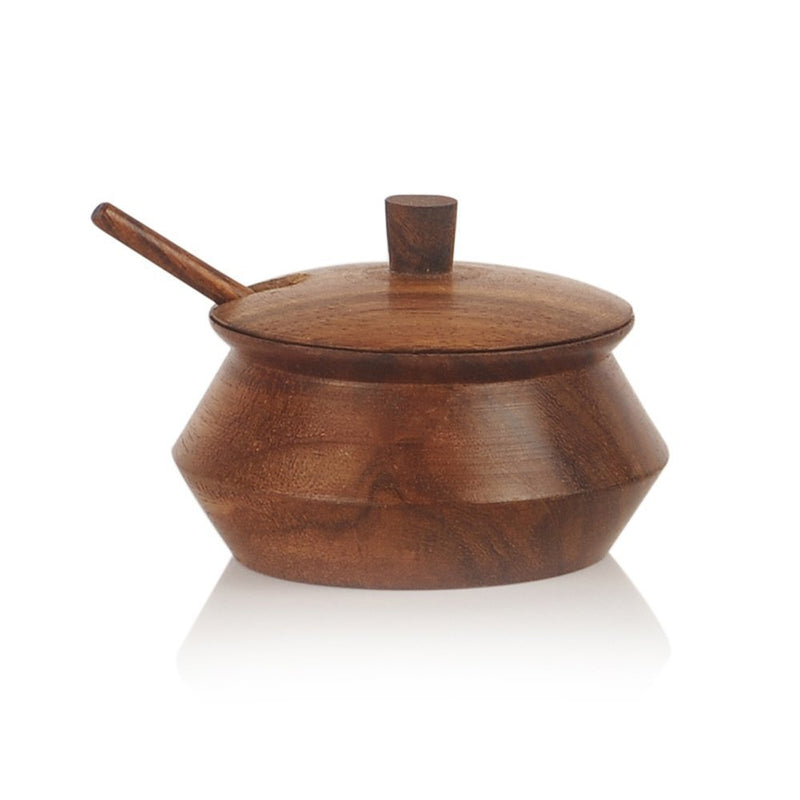 Wooden Jar Set With Tray & Spoon In Sheesham Wood Brown - Navvi.in