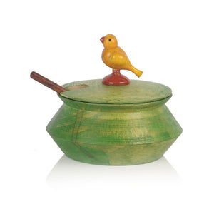 Wooden Parrot Jar Set With Tray & Spoon In Green
