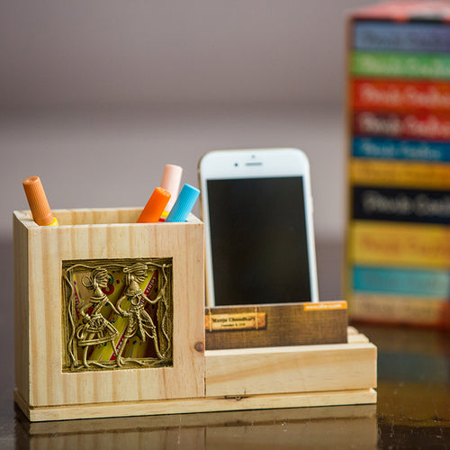 Pine Wood Pen Stand With Card & Mobile Holder - Navvi Lifestyle