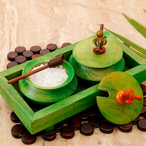 Wooden Parrot Jar Set With Tray & Spoon In Green - Navvi Lifestyle