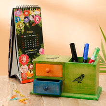 Muticoloured Wooden Decorative Study Table Organizer with Pen Stand - Navvi Lifestyle