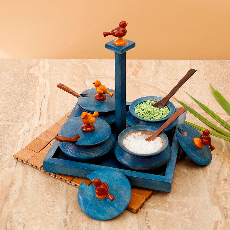 Wooden Parrot Jar Set With Tray & Spoon In Blue- Navvi.in
