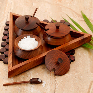 Wooden Triangular Jar Set With Tray & Spoon In Sheesham Wood - Navvi Lifestyle