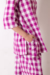 Purple Checkered Cotton Lounge Wear Set