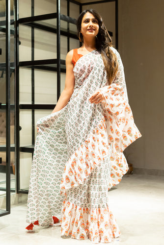 saree, navvi, rufflesaree, cottonsaree, lightweightsaree, indianwear, ethnic, ruffles, handblockprinting, newcollection, festivewear, sareelove