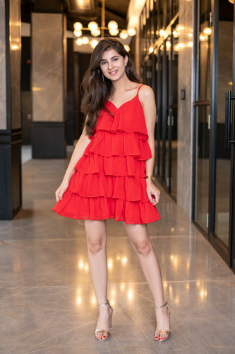 Light Red Ruffle Short Dress - Navvi Lifestyle