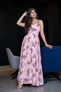 PEACH FLORAL AFFAIR GOWN WITH GOLDEN SLEEVES