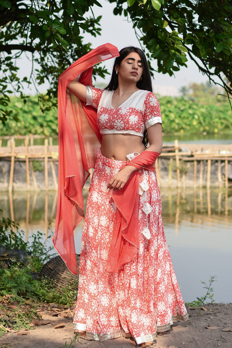 Blush Orange Floral Dress - Navvi Lifestyle