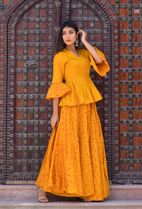 Mustard Lehenga Set in Jaam Work