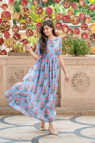 BLUE PRINTED LONG KURTA DRESS - Navvi Lifestyle