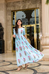 LIGHT BLUE PRINTED LONG KURTA DRESS - Navvi Lifestyle