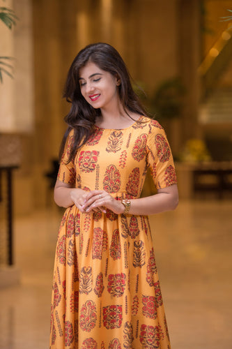 MUSTARD COLOR PRINTED LONG KURTA DRESS - Navvi Lifestyle