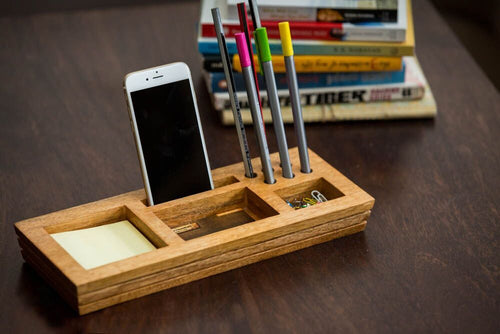Mango Wood Table Organizer With Post-It Sticky Note